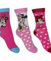 Kinder minnie mouse thema sokken 3 pak roze trend