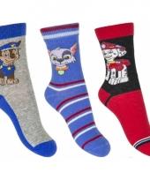 Kinder paw patrol thema sokken 3 pak blauw rood trend