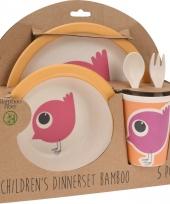 Kinder servies set bamboe fiber vogeltje trend