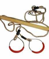 Kinder speeltoestel trapeze met ringen rood 16 x 21 cm trend