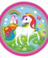 Kinderfeest unicorn wegwerp bordjes 8 stuks trend