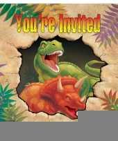 Kinderfeestje dinosaurus uitnodigingen 8 stuks trend