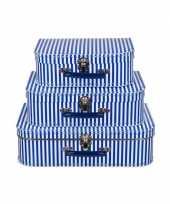 Kinderkamer koffertje blauw met witte strepen 25 cm trend