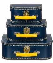 Kinderkamer koffertje navy geel 16 cm trend