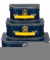Kinderkamer koffertje navy geel 20 cm trend