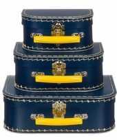 Kinderkamer koffertje navy geel 25 cm trend