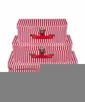 Kinderkamer koffertje rood met witte strepen 25 cm trend
