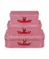 Kinderkamer koffertje rood met witte strepen 30 cm trend