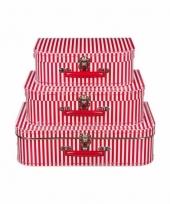Kinderkamer koffertje rood met witte strepen 35 cm trend