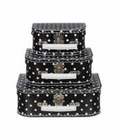 Kinderkamer koffertje zwart met witte stippen 16 cm trend