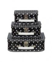 Kinderkamer koffertje zwart met witte stippen 20 cm trend