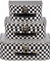 Kinderkamer koffertje zwart wit 20 cm trend