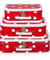 Kinderkoffertje rood polkadot 25 cm trend