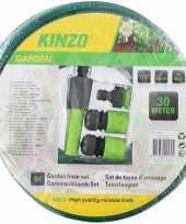Kinzo tuinslang met sproeikop set 30 meter groen zwart trend