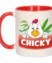 Kippen theebeker rood wit chicky 300 ml trend