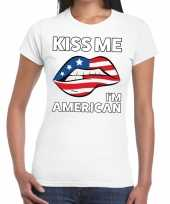 Kiss me i am american t-shirt wit dames trend