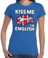Kiss me i am english t-shirt blauw dames trend