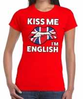 Kiss me i am english t-shirt rood dames trend