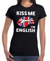 Kiss me i am english t-shirt zwart dames trend
