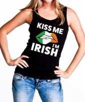 Kiss me i am irish tanktop mouwloos shirt zwart dames trend