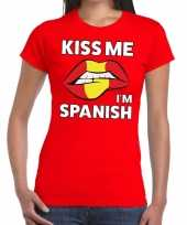 Kiss me i am spanish t-shirt rood dames trend