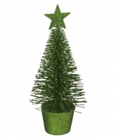 Kleine groene kerstboom 15 cm trend