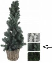 Kleine kerstboom groen in mand 80 cm trend