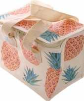 Kleine koeltas ananas print voor 6 sixpack blikjes trend