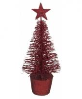 Kleine rode kerstboom 15 cm trend