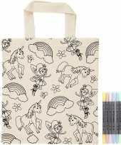 Kleurset tasje eenhoorns met textielstiften trend