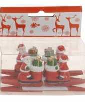 Knijper met kerstman op laars 4 stuks trend