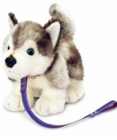 Knuffel hond husky aangelijnd trend