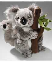 Knuffel koala met baby en boomstam 25 cm trend