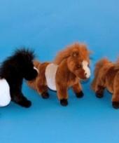 Knuffel pony zwart met wit 36 cm trend
