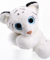 Knuffel tijger wit met glitter ogen 40 cm trend