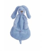 Knuffel tuttel konijn denimblauw 25 cm trend