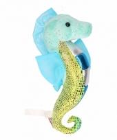 Knuffel zeepaardje glimmend aqua 25 cm trend