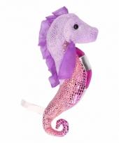 Knuffel zeepaardje glimmend paars roze 25 cm trend