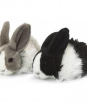 Knuffeldier konijnen zwart wit 18 cm trend