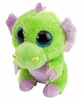 Knuffeldiertje draakje pluche groen paars 13 cm trend