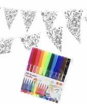 Knutsel papieren vlaggenlijn om in te kleuren 3m incl stiften trend