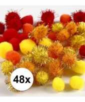 Knutsel pompons 48 stuks 15 20 mm kleuren trend