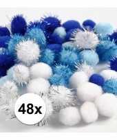 Knutsel pompons 48 stuks 15 20 mm wit blauw trend