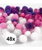 Knutsel pompons 48 stuks 15 20 mm wit paars trend