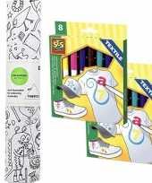Knutsel stoffen kleurplaat 140 cm incl stiften voor kinderen trend