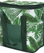 Koeltas bladeren print wit groen 29 cm 20 liter trend
