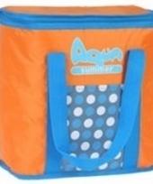Koeltas met stippen oranje 34 cm trend