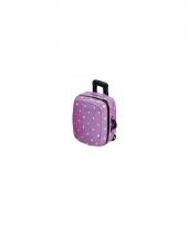 Koffer spaarpot paars met wit trend