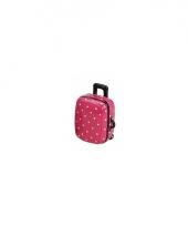 Koffer spaarpot roze met witte stippen trend