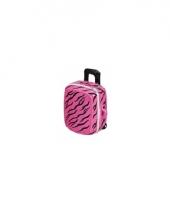 Koffer spaarpot roze met zwart trend